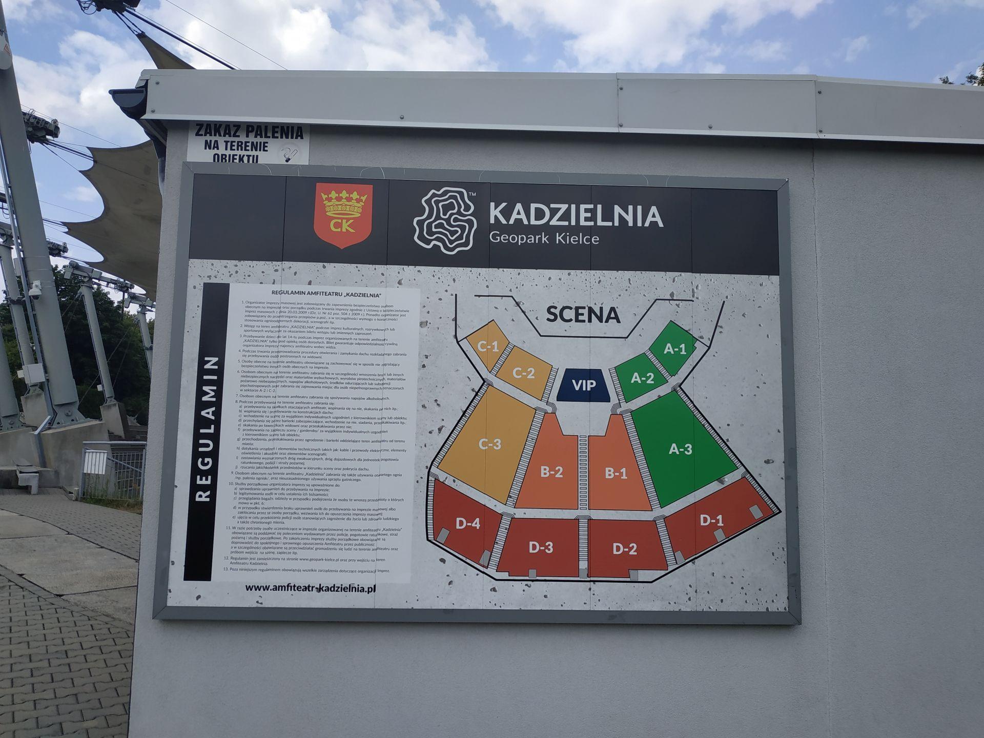 Tablica Informacyjna Sektory Amfiteatr Kadzielnia